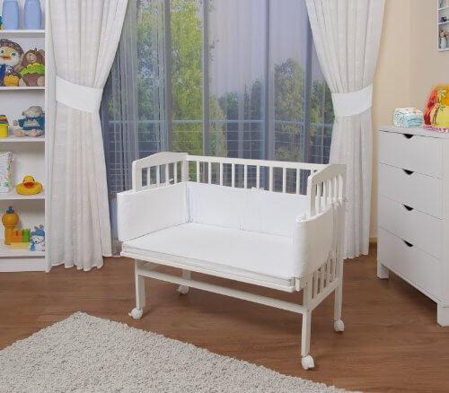 WALDIN Baby Beistellbett mit Matratze und Nestchen, 8 Modelle wählbar, weiß lackiert,weiß -